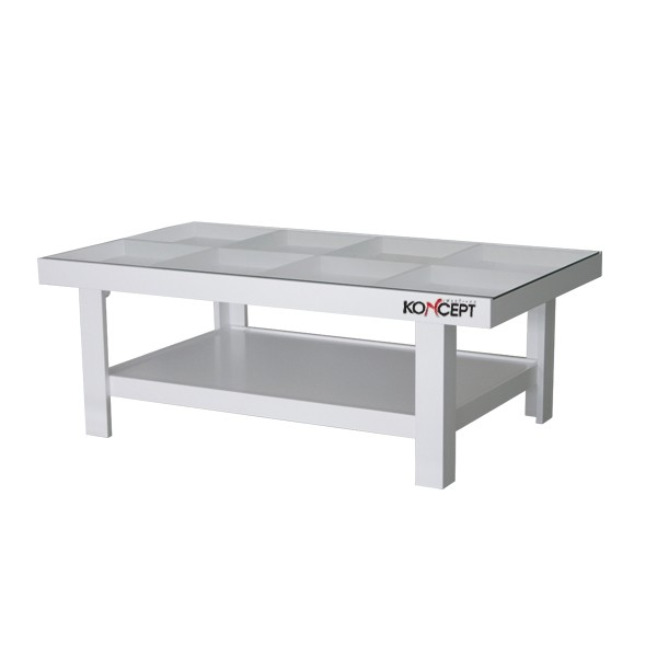 โต๊ะกลาง ไม้ท๊อปกระจก ขนาด 100-119 ซม. รุ่น Adorn