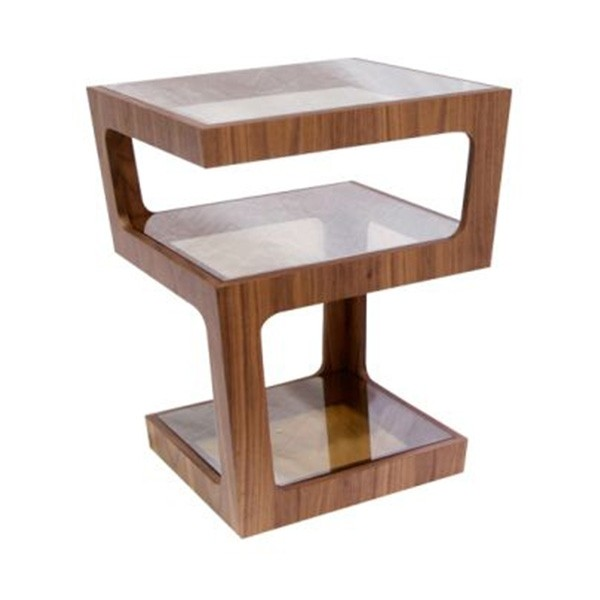 โต๊ะข้างไม้ท๊อปกระจก