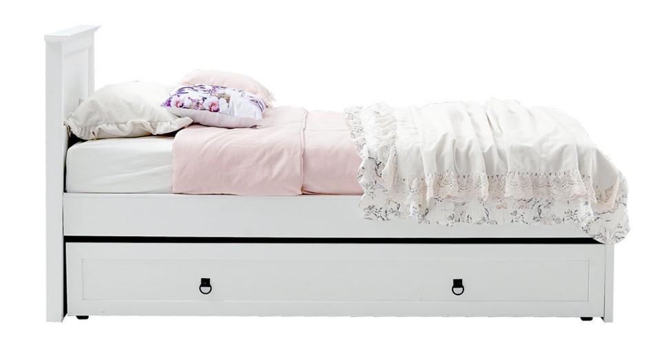 Melona เตียง 3.5 ฟุต สีขาว สไตล์วินเทจ