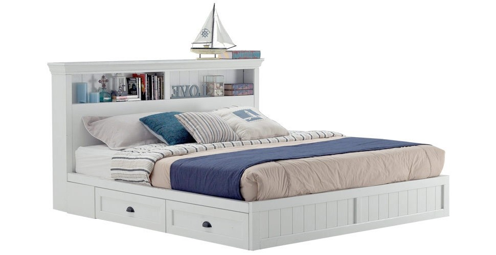 Mahony เตียง 5 ฟุต สีขาว สไตล์วินเทจ