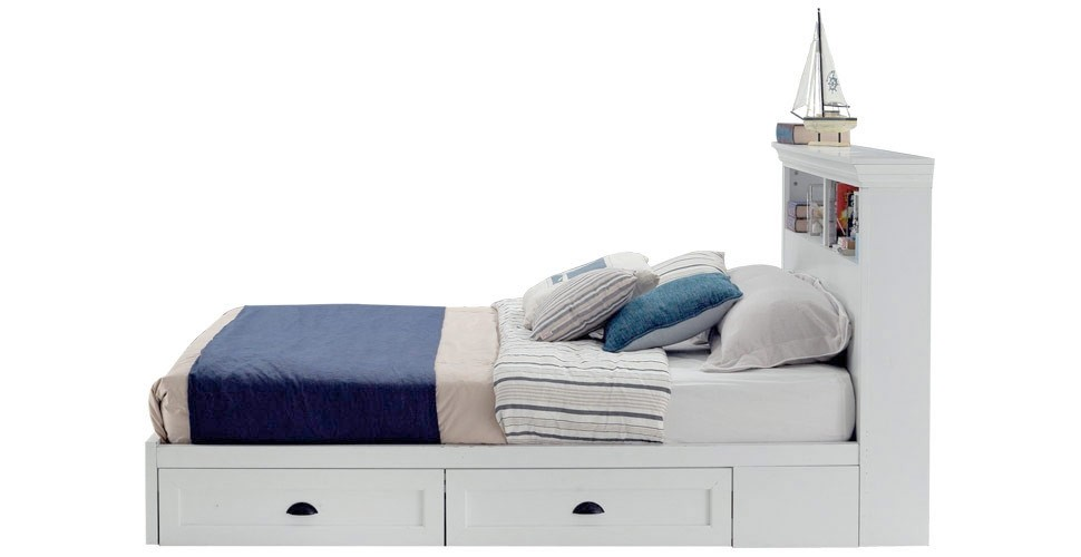 Mahony เตียง 6 ฟุต สีขาว สไตล์คอนเทมโพรารี