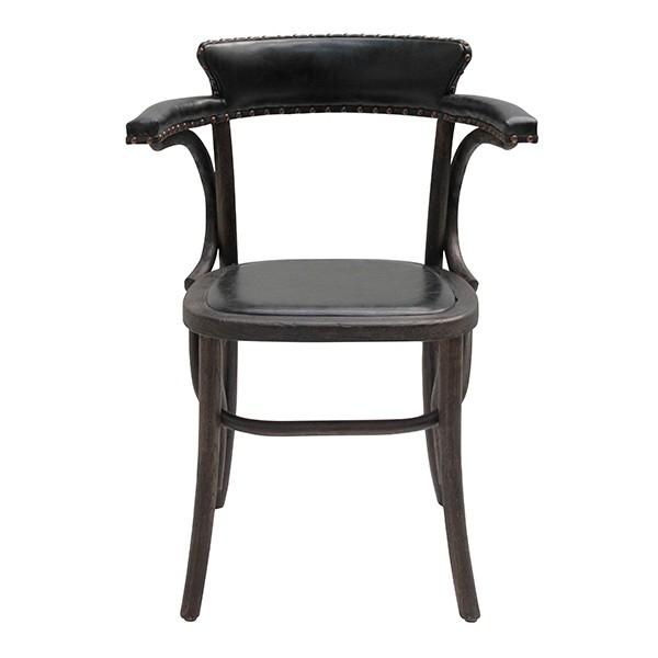 เก้าอี้ไม้เบาะหนัง