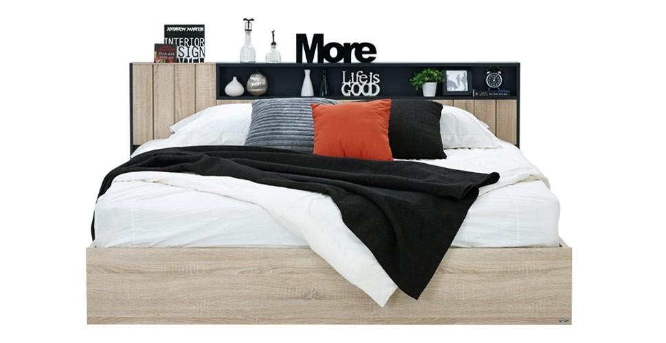 Diago เตียง 6 ฟุต สีโซลิดโอ๊ค