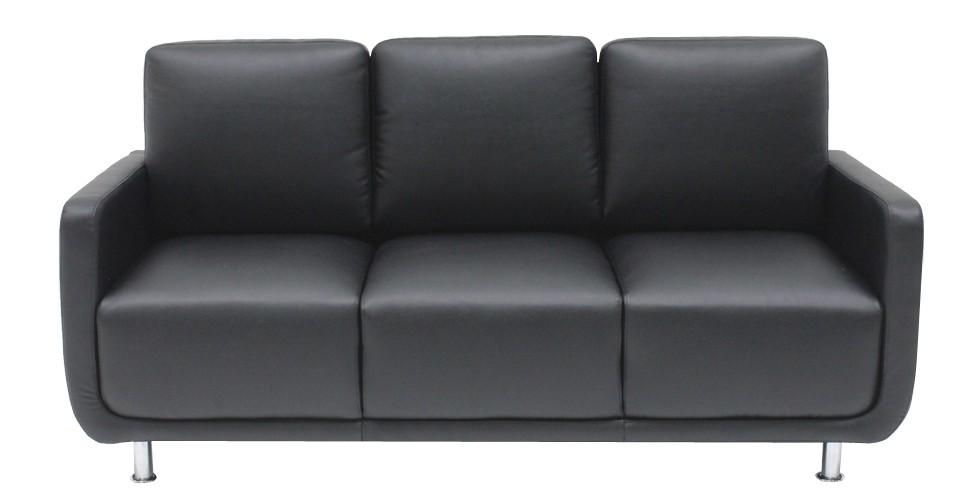 Kappa โซฟาหนังสังเคราะห์ สีดำ ขนาด 180 ซ.ม. สไตล์คอนเทมโพรารี