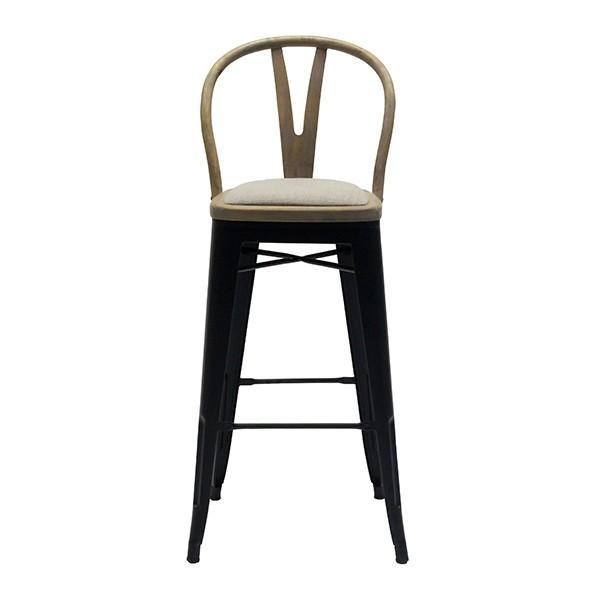 เก้าอี้สตูลบาร์เหล็กเบาะไม้