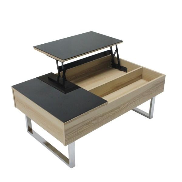 โต๊ะกลาง เหล็กท๊อปกระจก ขนาด 100-119 ซม. รุ่น Acadia