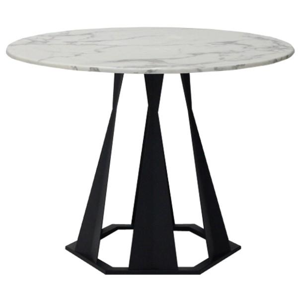โต๊ะทานอาหาร ขาเหล็กท๊อปหิน ขนาด 80-119 ซม. รุ่น Hershey