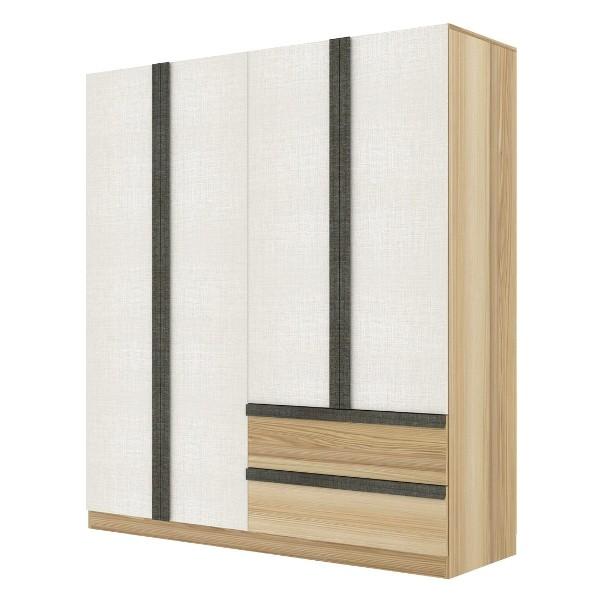 NIKKO/ตู้ผ้าWE180-2DW/ลินเบิร์ก/ไวท์ลินิ