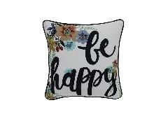 หมอนP00157/45X45/ขาวลายBE HAPPY