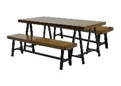 โต๊ะอาหารขาเหล็กท๊อปไม้