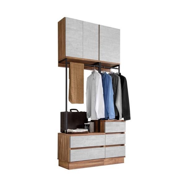 ชุดตู้เสื้อผ้าบานเปิด ขนาด 100 ซม.  รุ่น Bricko