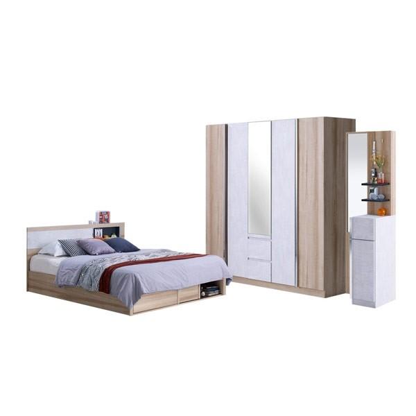 Vazenta ชุดห้องนอนขนาด 6 ฟุต LINDBERG OAK Modern